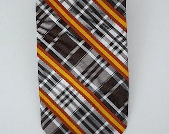 Vintage Neckties Men's 70's Polyester, Plaid, Printed, Fat Tie