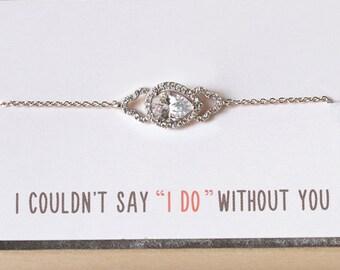 Bridesmaid Bracelet, Teardrop Bracelet, Bridesmaid Jewelry Gift, Dainty Bracelet, Maid of Honor Gift, Silver Delicate Bracelet, B160-S2