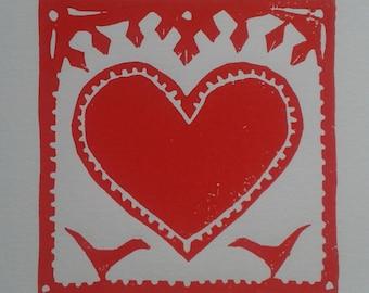 Red Heart with Birds by Katrina Wallis-King - folk art, Valentine, love, birds, children's nursery, linocut