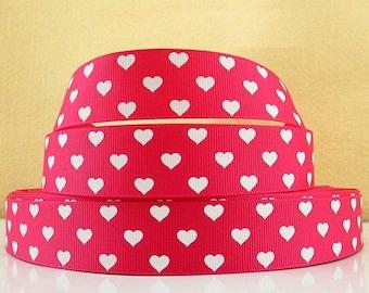 Pink grosgrain heart Ribbon white 25mm fuchsia love wedding Valentine's day