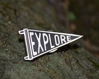 Explore Enamel Pin, Adventure Pin, Pennant Pin, Enamel Pin Badge, Camping Enamel Pin, Hiking Pin, Backpack Pins, Traveler Pin, Black Silver