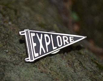 Explore Enamel Pin, Adventure Pin, Pennant Pin, Enamel Pin Badge, Camping Enamel Pin, Hiking Pin, Backpack Pins, Traveler Pin, Black Silver