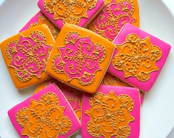 Mehndi Henna Inspired Cookies - Square Shapes