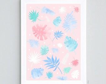 Pastel Botanic poster - Format A4