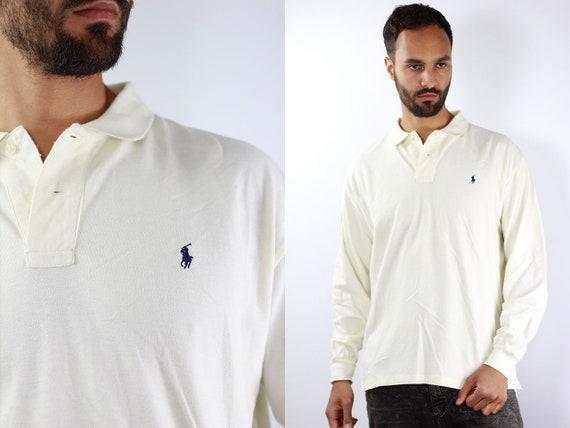 Ralph Lauren Poloshirt Ralph Lauren Polo Shirt Ralph Lauren White Poloshirt White Vintage T Shirt Grunge  T-Shirt White Ralph Lauren Shirt