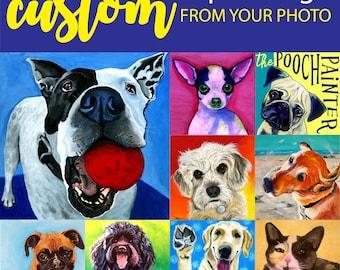 Pet portrait custom, custom dog and cat, portrait artist, custom portrait art, from photograph, pet painting, hand painted, acrylic pet art