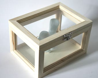Custom Hand Painted Wood and Glass Urn Display Memory Box