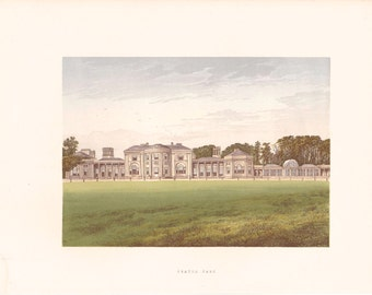 """Antique Woodblock Print - """"Heaton Park""""  - 1880 English Country House - Home Decor Print to Frame, Stately Home, Lancashire, England"""