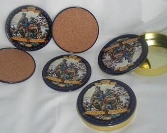 Set 8 tin cork coasters Birth of a Nation 1855 Miller Genuine Draft 1993 Series Mint Vintage