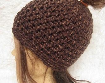 Ponytail Hat, Messy Bun Beanie, Messy Bun Hat, Brown, Mom Bun Hat, Chunky, top knot hat, crochet hat, running hat, messy hair, crochet, hat
