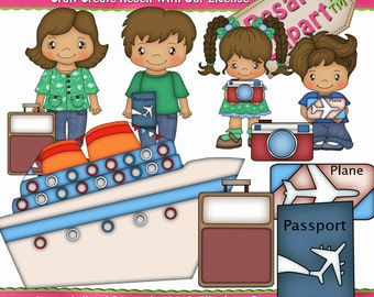 Family Vacation Cruise Clipart (Digital Download Zip File)