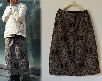 529---Women's Wool Skirt, Jacquard Full Skirt,  Winter Maxi Skirt, Made to Order.