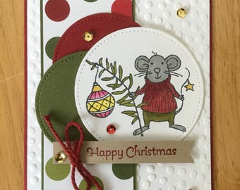 Stampin Up handmade Christmas card - Christmas mice with ornament