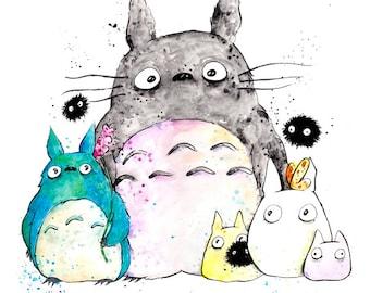My Neighbor Totoro Print  8.5x11 inch inkjet print art painting