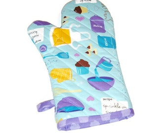 Oven Mitt -- Blue and Violet - Gift Under 25 - Gift for Foodie