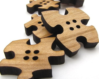 "Wood Buttons - Six Puzzle Piece Buttons 1"" Laser Cut from Sustainable Harvest Wisconsin Wood . Timber Green Woods"