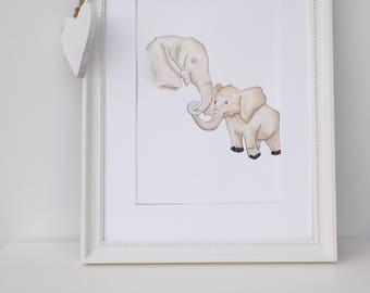 UNFRAMED art print mummy and baby elephant
