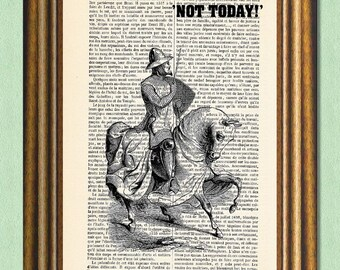 NOT TODAY - Game of Thrones - Dictionary art - Wall Art - Antique book page recycled-