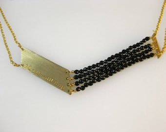 Personalized V Necklace Gold and Black Onyx