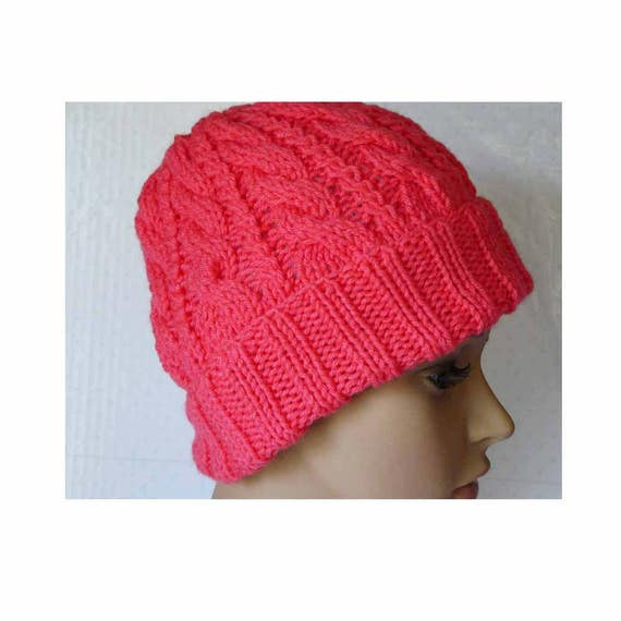 Childs Knitted Hat With Brim Up