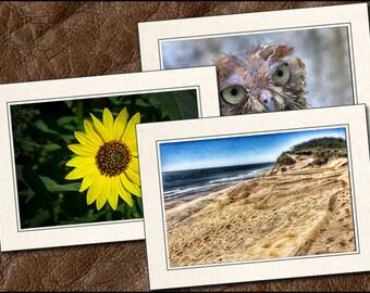 3 Nature Photo Note Cards Handmade Set - 5x7 Nature Note Card - Blank Note Cards With Envelopes - Nature Greeting Cards Handmade (NA12)