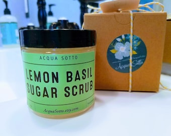 Lemon Basil Sugar Scrub- Gift for Her teacher Party Bridal Baby Shower Favor graduation natural skincare bath beauty summer beach vacation
