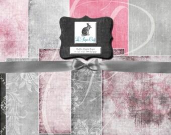 "Pink & Grey Digital Paper Set- Digital Scrapbook Paper - Pink Gray Valentine (12"" x 12"" 300 dpi) INSTANT  DOWNLOAD - 8 Digital JPG Files"