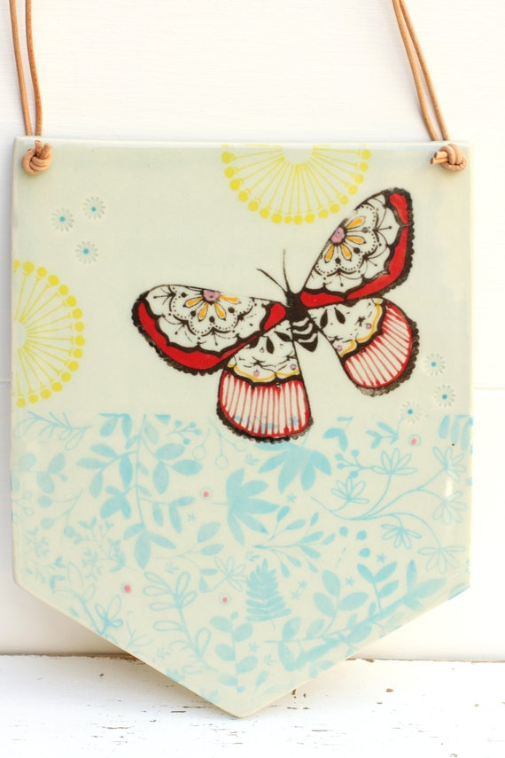 hanging wall tile // butterfly tile // butterfly banner