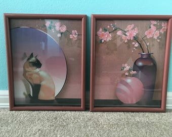 2-Piece Framed Siamese Cat Print
