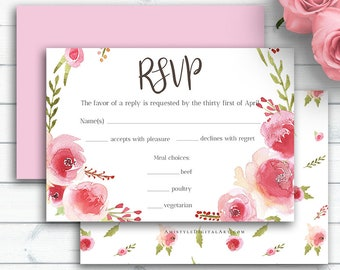 Blush Wedding RSVP Card, Personalized Wedding Insert Cards, Invitation Enclosure, DIY Response Card, Rsvp Online, RSVP Enclosure