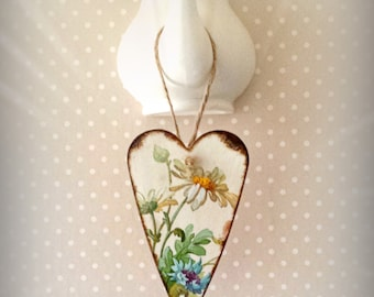 Floral Heart Plaque, Primitive Wooden Heart, Victorian Vintage, Floral Gift Tag, Shabby Wedding Gift, Rustic Key Fob