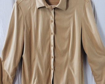 VTG 90s does 70s Tan Suede-like Button Up