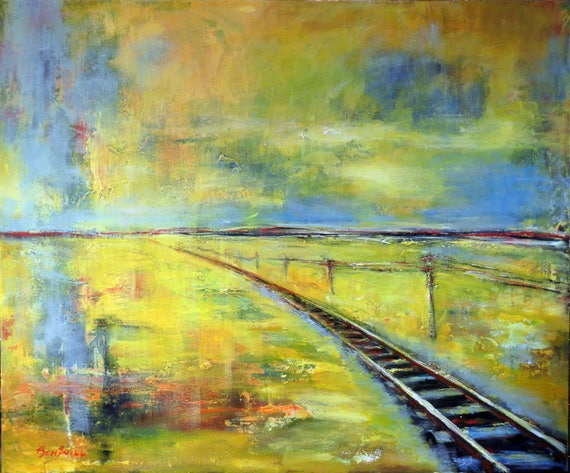 ORIGINAL Large Painting on Canvas Abstract Wall Art Train TRACK 36x30  by BenWill