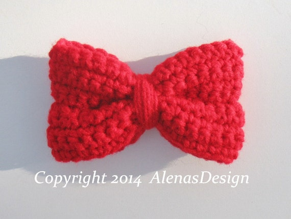 Crochet Pattern 103 -  Crochet Bows in two sizes Baby Girl Ladies Women  Red Minnie Bow Hat Headband Purse Hair Clip Boys Bow Tie Christmas