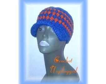 Royal Blue w /Carrot Orange clusters bibbed hat