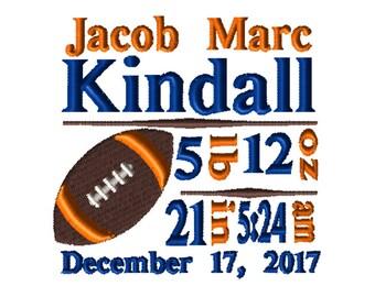 CUSTOM Birth Info Embroidery File: 5x7 Football