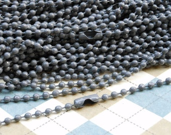 SALE--20 pcs 27inch, 2.4 mm Gray Ball Chain Necklaces