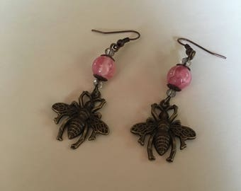 Brass bee and rhodonite earrings