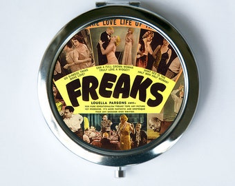 Freaks Compact Mirror Pocket Mirror circus sideshow freak performer obscure