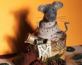 Needle felted  stitcher's mouse