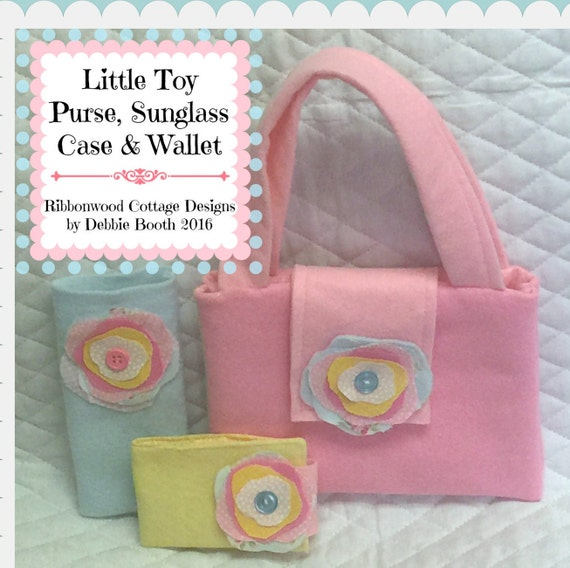 Sewing Pattern-PDF Little Toy Felt Purse, Glass Case and Wallet-very cute