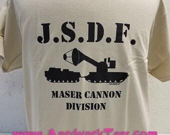 JSDF Maser Cannon Division hand-printed t-shirt -- Godzilla, Kaiju, Monster Movie