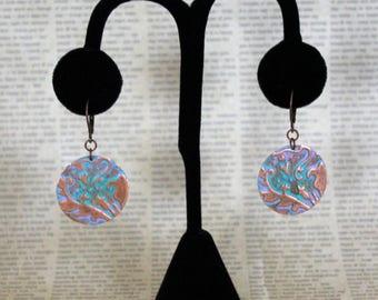 Vintaj Earrings, Circle Earrings, Lily Damask Earrings, Hand Painted Jewelry, Patina Jewelry, Vintage Jewelry, Copper Jewelry, Gift Ideas