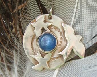 Eternity Blue Bird pendant, blue kyanite stone pendant, symbolic bird pendant, spiritual jewelry