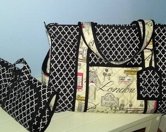 Quilted Duffel Bag with Matching Jewelry Rollup Bag