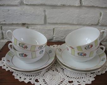 Vintage Noritake Teacups and Saucers - Japan - Floral - 4