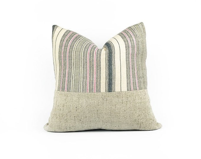 READY TO SHIP Indigo And Pink Stripe Belgian Linen Pillow cover 20x20