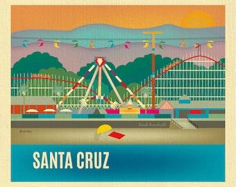 Santa Cruz Print, Santa Cruz Wall Art, Santa Cruz Travel Print, Santa Cruz Beach Boardwalk Poster Art, Loose Petals - style E8-O-SANTA-CRU
