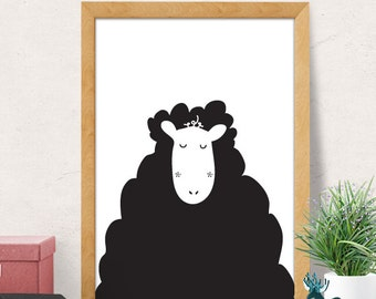 Sheep print, Nursery wall art, Nursery decor, Nursery room wall decor, cute print, Nursery wall decor, Baby room decor, Minimal sheep