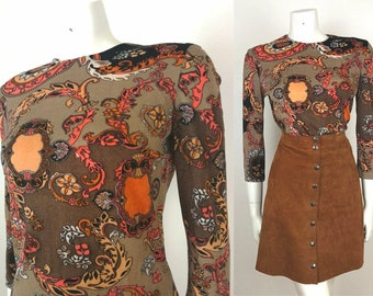 True Vintage 60s 70s Brown Coral Psych Floral Long Sleeved Top - size 10-12